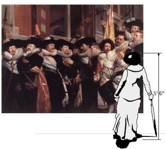 an attempt to show the size and scale of Officieren van de Haarlemse Kloveniersdoelen (Officers of the Haarlem Klovenierdoelen) by Hendrik Gerritsz Pot, 1630