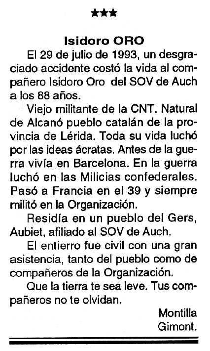 "Necrològica d'Isidor Oro Ricart apareguda en el periòdic tolosà ""Cenit"" del 7 de setembre de 1993"
