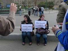 Two women protesting in Tahrir Square