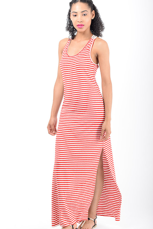 Stylish Red Stripe Maxi Dress - Shop H&S Maxi Bodycon Dresses