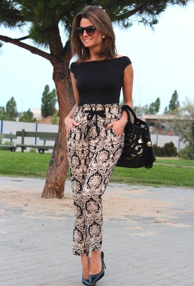 Black and Tan Combinations are perfect for the office, especially with this damask pair of pants.