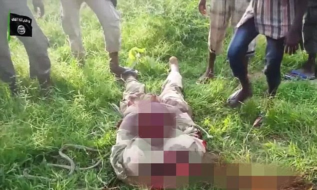 Murdered: The video then cuts to the man, who has been beheaded by the Islamic militants