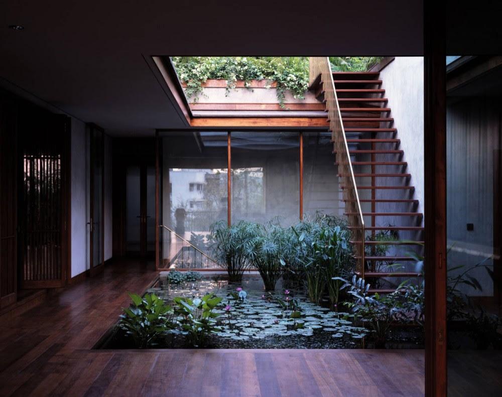 Central Courtyard Pool Exterior Staircaseinterior Design Ideas