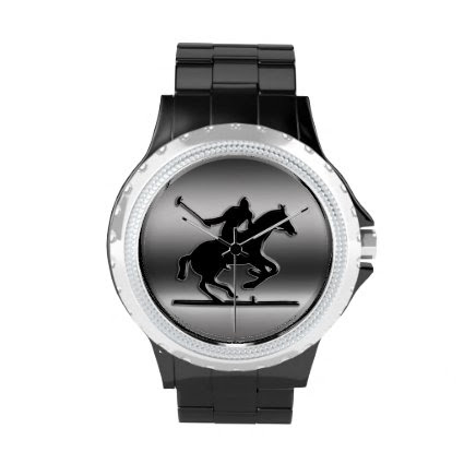 Monogram Black Polo Rider on brushed steel-look Wrist Watch