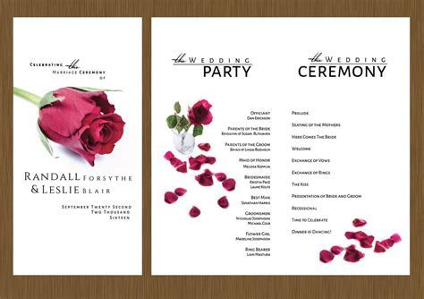 A Single Rose Wedding Program ? Detail Wedding Design