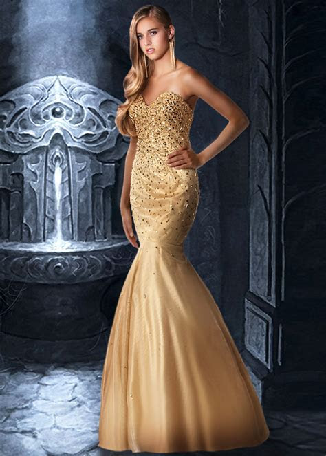 Gold Mermaid Wedding Dress   Dresscab