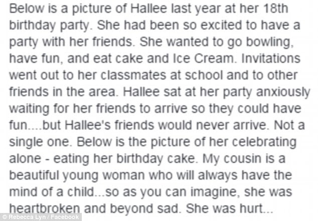 'Not a single one': Ms Lyn described how an excited Hallee sat waiting for her friends but was left 'heartbroken and beyond sad'