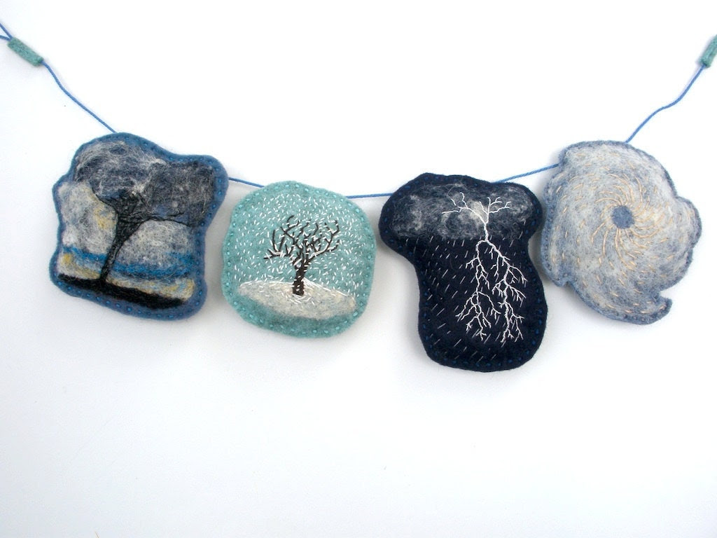 Handmade Montessori Work - Stormy Weather - Wool Felt Embroidered 4-Storm Garland. Made to Order. - TheHandmadeClassroom