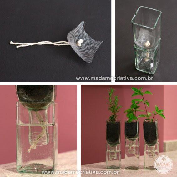 Πώς να προετοιμάσετε το γυαλί αγγεία αγγεία μπουκάλι - Βήμα-βήμα με φωτογραφίες - προετοιμασία τα μικρά αγγεία - Πώς να κάνει τα αγγεία χρησιμοποιώντας παλιά άδεια μπουκάλια - DIY φροντιστήριο - Madame Creative - www.madamecriativa.com.br