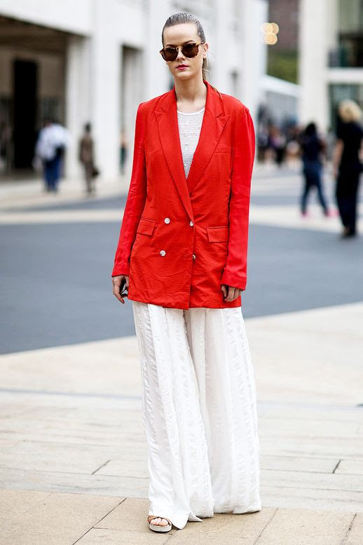 Le Fashion Blog Street Style Nyfw Sunglasses Bold Red Blazer Mesh Top White Wide Leg Pants Sandals Via Popsugar