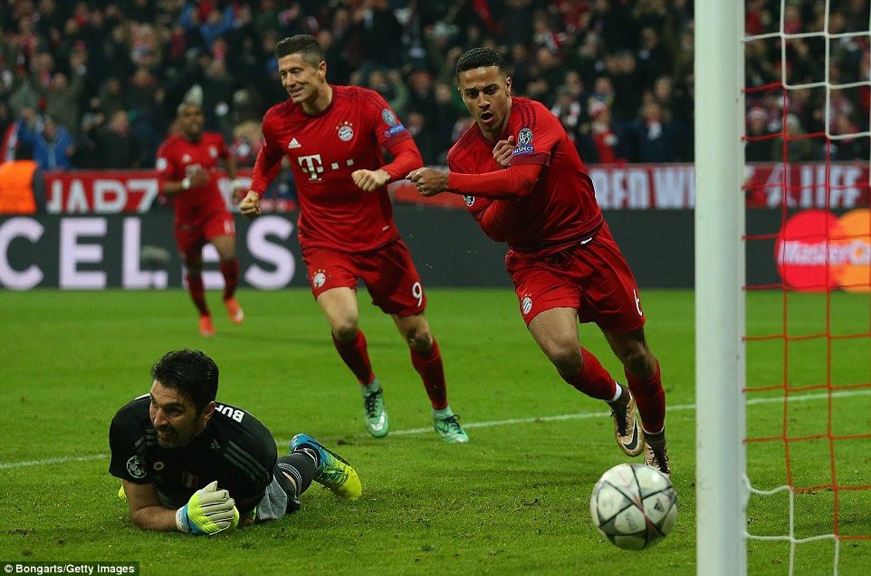 Buffon lies on the ground beaten by Thiago Alcantara's extra-time goal which set Bayern Munich on their way to reaching the next round