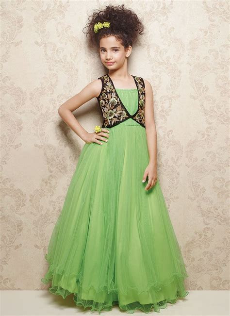 Doll Green Net Kids Layered Gown   K I D S . E T H N I C