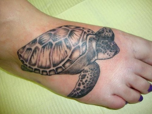 Sea Turtle Right Foot Tattoo Design Tattoomagz