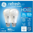 General Electric 36845 10.5W LED A19 6500K Daylight Refresh - Pack of 2,