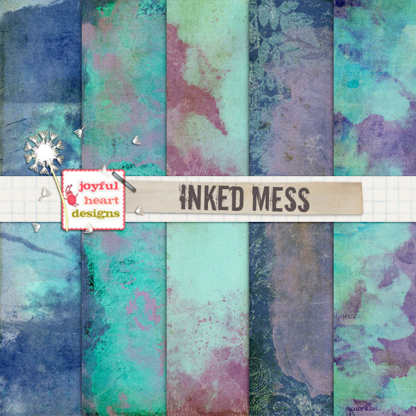Inked Mess FREEBIE - Digital Papers/Textures :) by JoyfulHeartDesigns