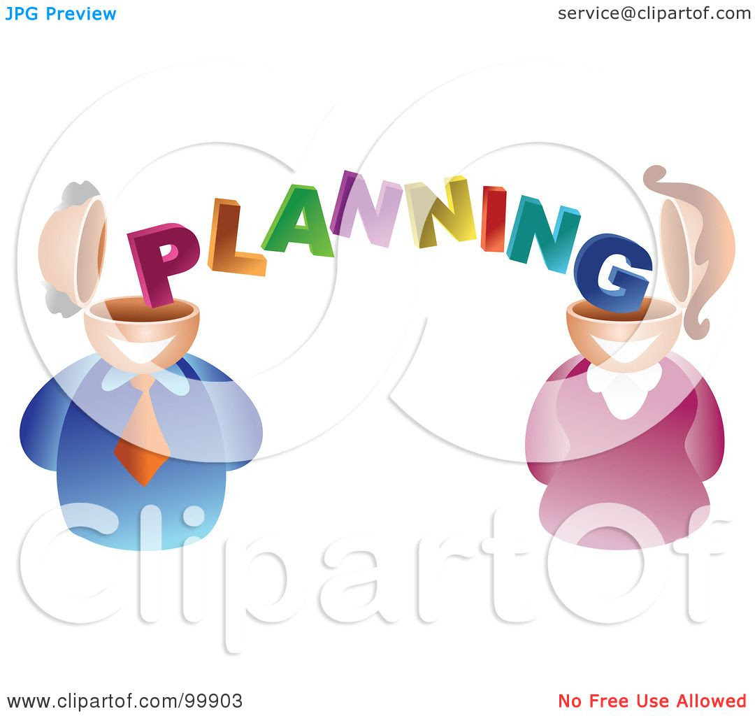 Royalty Free RF Clipart Illustration Of A Businses Man And Woman With Planning Brains 102499903