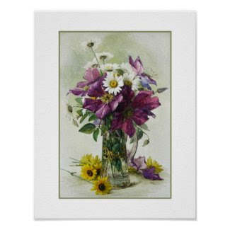 Flower painting. Paul de Longpré. Fine Art Poster