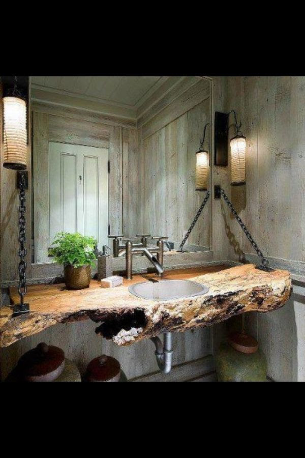 rustic bathroom.  coolest pin I've seen in a long time!