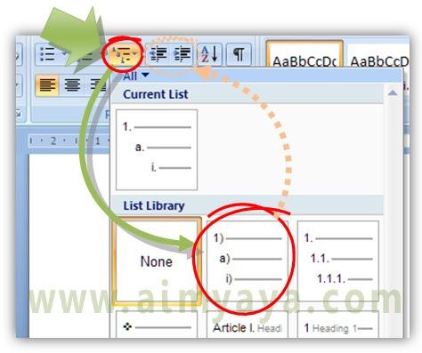 Gambar: Cara membuat penomoran outline (outline numbering) di microsoft word