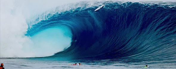 Epic waves wow even the pros in Fiji. Here. massive wave hits Fiji, surfer's board is smashed. (ASP/Robertson)