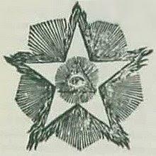 O Olho Que Tudo Vê dentro da Estrela Flamejante na arte maçônica.