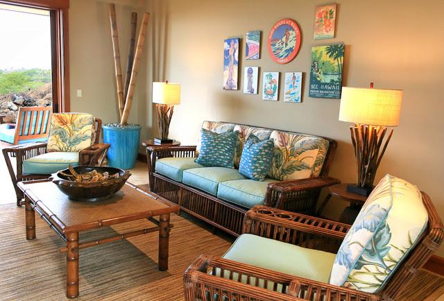 Kukio Resort Home - Tropical - Living Room - hawaii - by ...