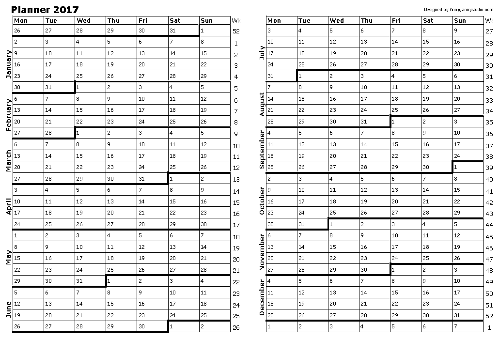 Free Printable Calendars and Planners 2017, 2018, 2019, 2020