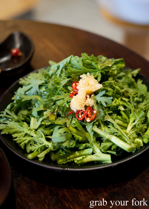 Crown daisy chrysanthemum leaf salad at Two Sticks Yunnan China, Sydney
