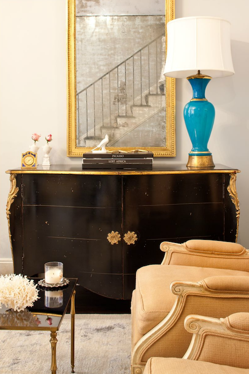 turquoise lamp console table gold mirror