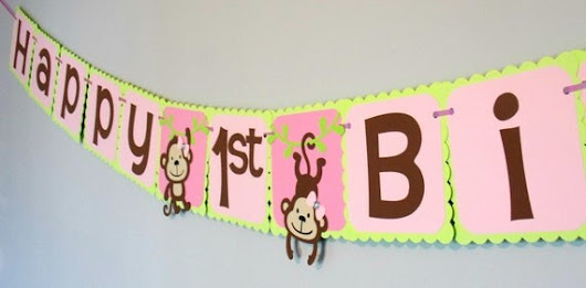 Girl Monkey Banner/ Pink Green Girl Monkey Birthday/ Girl Monkey Party Theme/ Girl Monkey Party Supplies/ Girl Jungle Banner/ Girl Safari