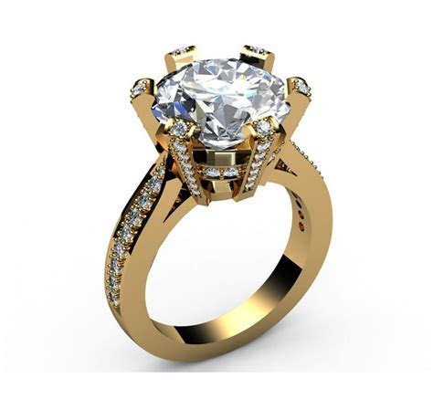 Moissanite Engagement Ring 18K Ring 6 prongs with Diamonds