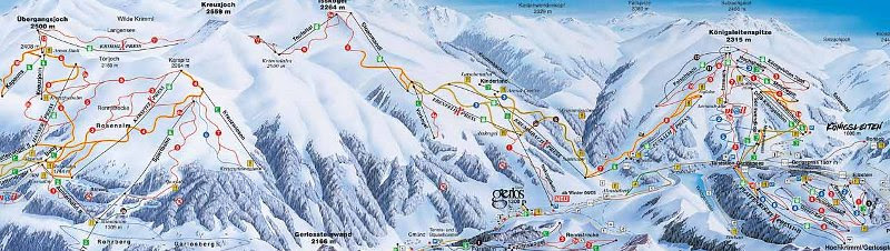 gerlos skigebied kaart Gerlos Skigebied Kaart | Kaart
