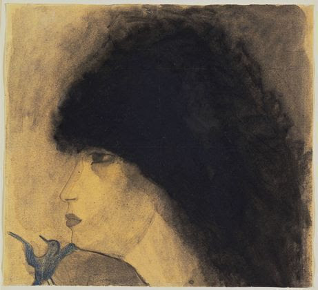 "Marie Laurencin ""Girl's Head"" Watercolor, pencil, and crayon on paper 1916-18"