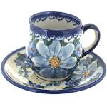 Polish Pottery Daisy Surprise Espresso Cup & Saucer