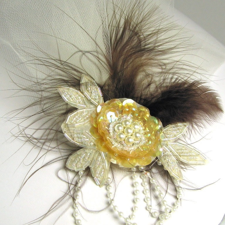 Fascinator- Vintage pearls and feather in Chocolate
