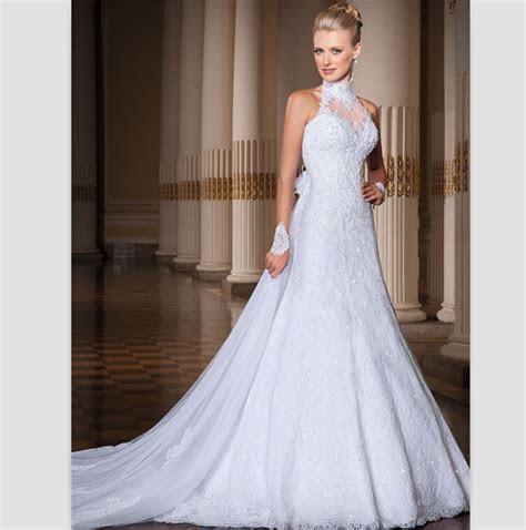 Elegant White Lace Wedding Dress 2015 Sexy Backless Halter