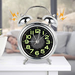 Willstar Retro Desktop Mechanical Alarm Clock Luminous Night Light Double Bell Mute Metal Digital Bedroom Home Decoration silver