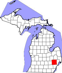 Map of Michigan highlighting Oakland County