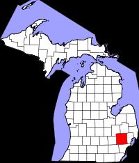 Map of Michigan highlighting Oakland County