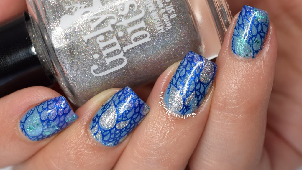 Manicure Manifesto Mermaid Water Drops Stamped Nail Art