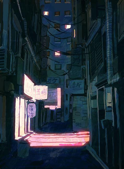 alley stroll  mobul concept  art anime art