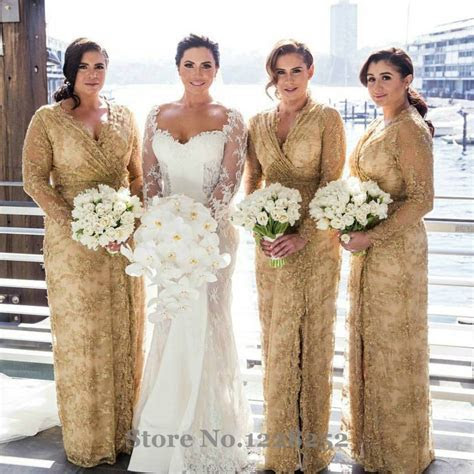 Fashion Gold Lace Bridesmaid Dress with Full Sleeves