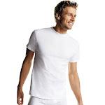 Hanes 2135P6 Men's White TAGLESS Crewneck Undershirt 6-Pack - White