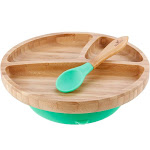 Avanchy Bamboo Stay Put Suction Toddler Plate + Spoon Green