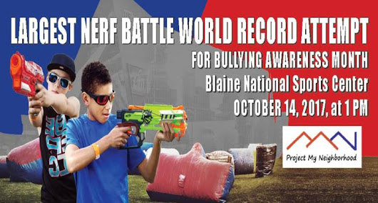 World Record Attempt for Largest Nerf Battle & The Great Pumpkin Giveaway in Blaine this Saturday, October 14 - Twin Cities Frugal Mom