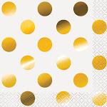 Foil Polka Dot Paper Beverage Napkins, Gold, 16ct, Size: One Size