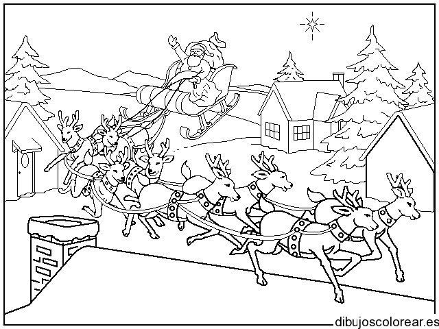 Reno De Santa Claus En Un Techo