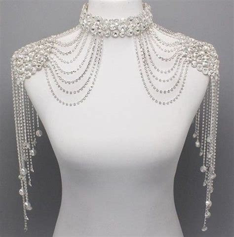 Bridal Couture Steampunk GLAMOUR Crystal Shoulder Neck