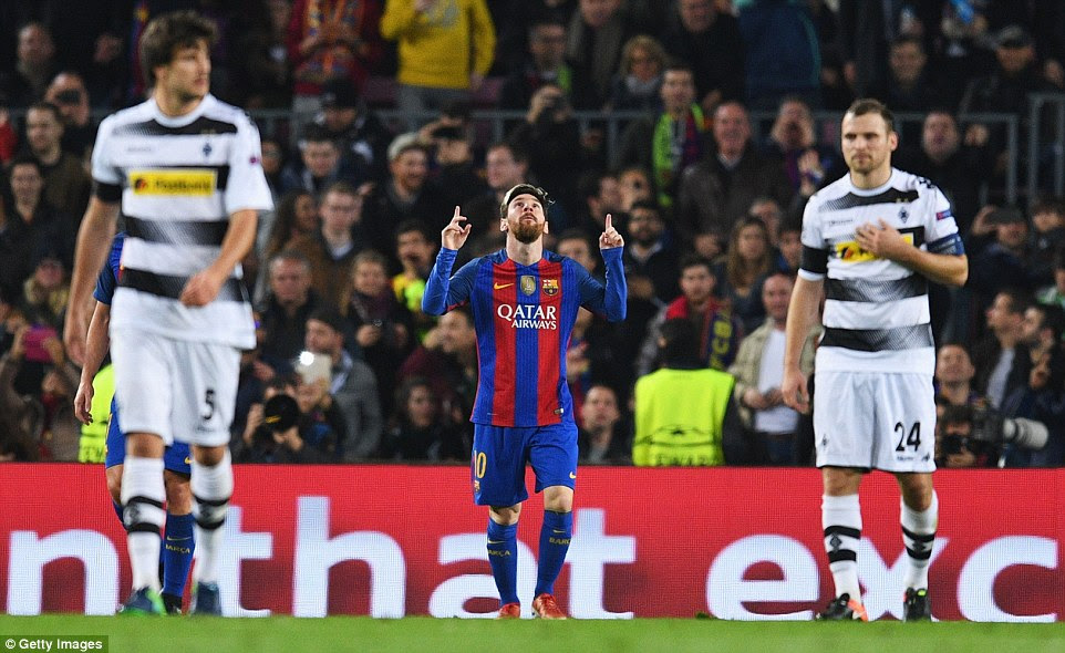 Maestro Messi points to the heavens after his early strike in the Champions League Group C match on Tuesday night