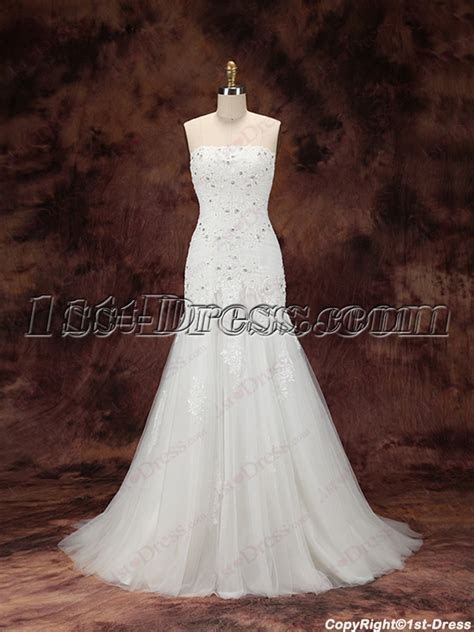 2016 Sheath Lace Bridal Gown with Train:1st dress.com